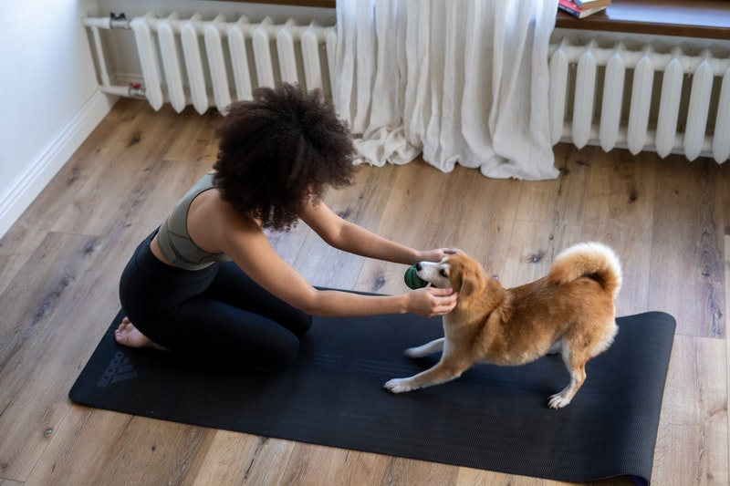 a young woman playing with her pet dog, natural remedies for anxiety and depression, herbs for anxiety and depression